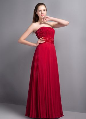 Popular Wine Red Strapless Bridesmaids Gown in Hartbeespoortdam Pleat Accent