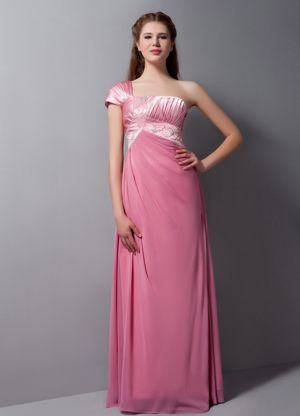 Pink Column One Shoulder Beading Accent Bridesmaids Dresses in Halway House