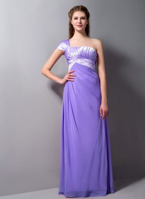 One Shoulder Beaded Lilac Bridesmaid Dress in Gravelotte with Single Cap Sleeves