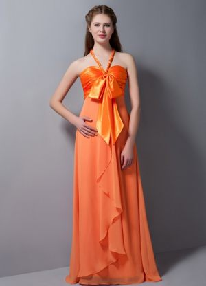 Customize Orange Red Empire Halter Ruched Bridesmaid Dresses in Graskop
