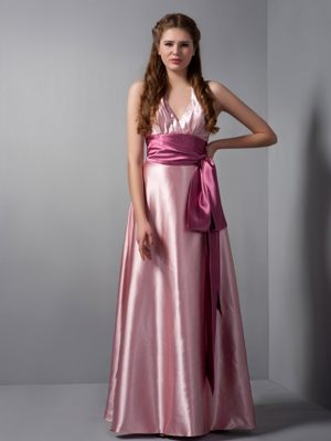 Customize Pink Column V-neck Dresses for Bridesmaid in Grabouw with Sash