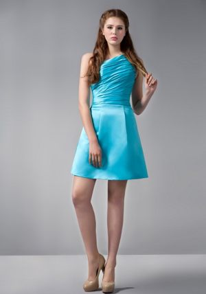 One Shoulder Mini-length Ruched Aqua Blue Bridesmaids Gown in Graaff-Reinet