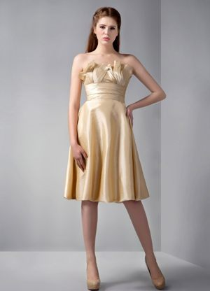 Strapless Knee-length Ruched Gold Empire Bridesmaids Dresses in Gordons Bay