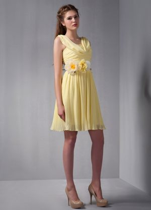 Empire Straps Mini-length Yellow 2013 Bridesmaid Dresses in Gillitts with Flower