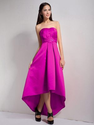 Lovely Fuchsia High-low Style Dress for Bridesmaids in Germiston with Appliques