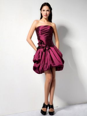 Burgundy A-line Strapless Flower for Mini-length Bridesmaids Gown in Gansbaai
