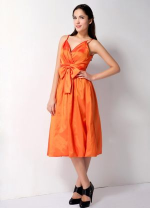 Spaghetti Straps Bow Accent Tea-length Orange Bridesmaid Dress in Florida
