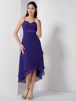Customize Purple Spaghetti Straps High-low Dresses for Bridesmaid in Empangeni