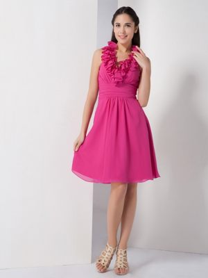 A-line Halter Ruched Knee-length for Hot Pink Bridesmaids Gown in Ellisras