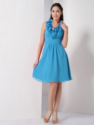 Baby Blue A-line Ruched Short Bridesmaids Dresses in Elandsfontein with Halter