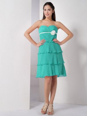 Turquoise Sweetheart Flower for Knee-length Bridesmaid Dress in Edenvale