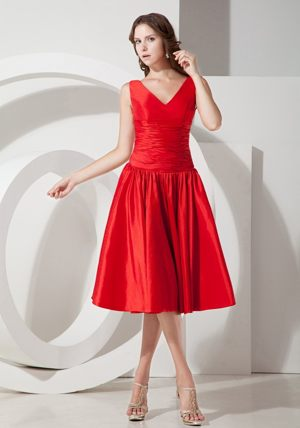 Sweet A-Line V-neck Tea-length Red Dress for Bridesmaids in East London