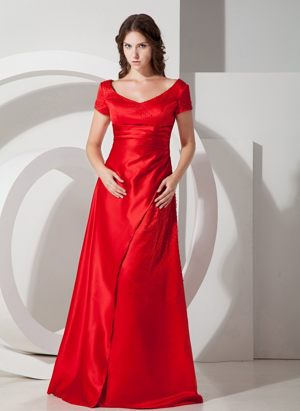 Red Column Scoop Dresses for Bridesmaid in Durbanville with Short Sleeves