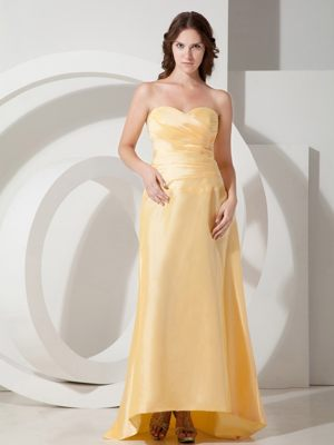 Modern Light Yellow Sweetheart Brush and Pleats for Bridesmaids Gown in Durban