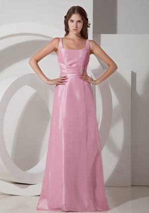 Rose Pink Empire Beading Bridesmaids Dresses in Dullstroom with Square Neck
