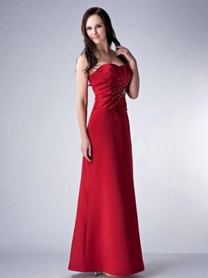 Red Column Strapless Satin Beading Decorate Bridesmaid Dress in Deneysville