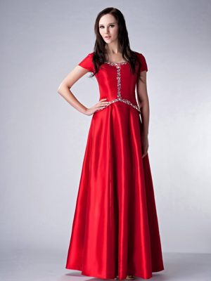 Scoop Neckline for Red Empire Bridesmaid Dresses in Delmas Beading Accent
