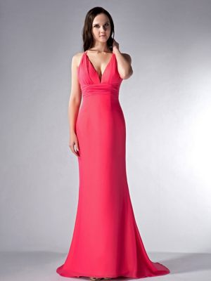 Exquisite Coral Red Column V-neck Brush for Dress for Bridesmaids in Darnall