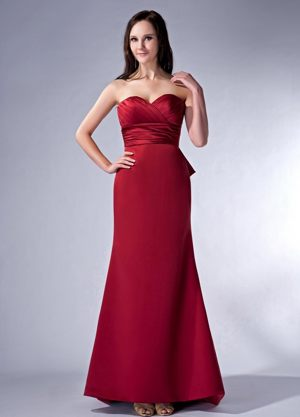 Wine Red Column Sweetheart Ruched Brush Dresses for Bridesmaid in Craighall