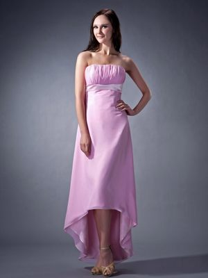 Remarkable Pink Column Ruched Bridesmaids Gown in Cookhouse High-low Style