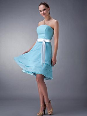 Aqua Blue Empire Sash Accent for Knee-length Bridesmaids Dresses in Coffee Bay