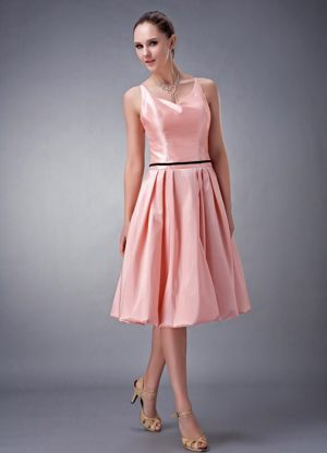 Watermelon A-line V-neck Knee-length Bridesmaid Dress in Citrusdal with Sash