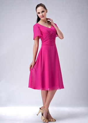 Hot Pink V-neck Tea-length Bridesmaid Dresses in Centurion with Short Sleeves