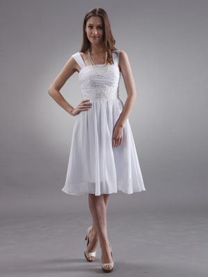 Straps with Appliques Knee-length Chiffon Dress for Bridesmaids in Yzerfontein