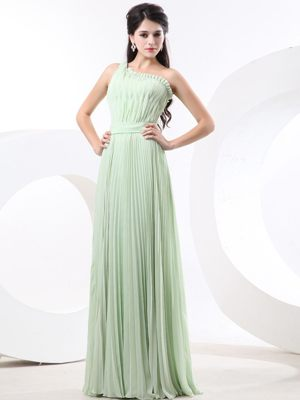 Empire with Pleat One Shoulder Apple Green Dresses for Bridesmaid in Wynberg