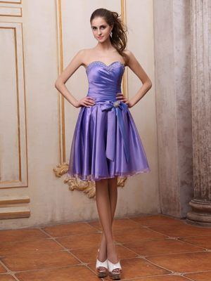 Purple Sweetheart Beaded Bowknot Knee-length Bridesmaids Dresses in Witbank
