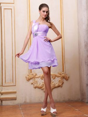 One Shoulder Lavender Bridesmaid Dress in Winterton with Beading Accent