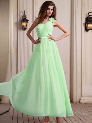 Apple Green One Shoulder with Flower for Bridesmaid Dresses in Wilderness
