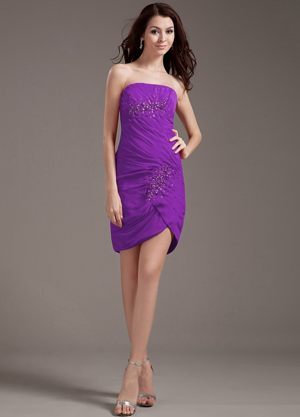 Beading Decorate Strapless Purple Mini-length Bridesmaids Gown in Vredenburg
