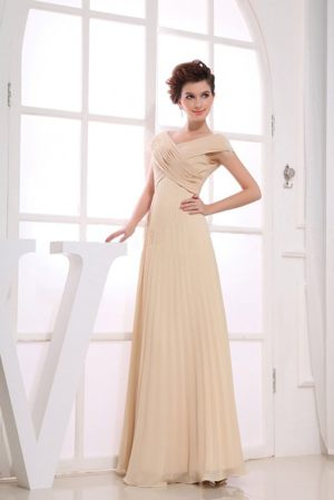 V-neck Champagne Chiffon Bridesmaids Dresses in Verulam with Ruching