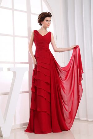 Ruffled Layers Wine Red Chiffon V-neck 2013 Bridesmaid Dress in Vereeniging
