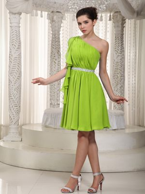 One Shoulder Mini-length Beaded Yellow Green Bridesmaid Dress in Umdloti