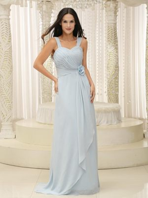 Straps Ruche and Flowers Baby Accent Blue Dress for Bridesmaids in Tokai