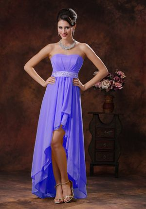 2013 Purple High-low Bridesmaid Dress in Stellenbosch with Belt Decorate