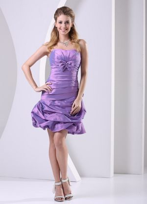 Ruche and Bowknot Accent Lavender Club Bridesmaid Dresses in Sedgefield