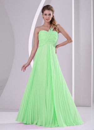 Spring Green One Shoulder Pleat Brush Dress for Bridesmaids in Saxonwold