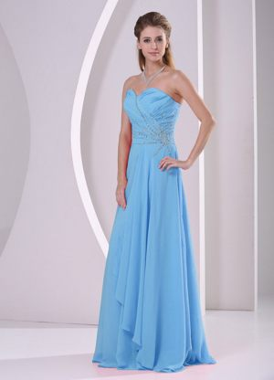 Sweetheart Beaded and Ruched Aqua Blue Dresses for Bridesmaid in Sasolburg
