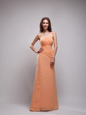 Orange Column Strapless Chiffon Ruched Bridesmaids Dresses in Saldanha