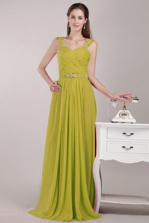 Yellow Green Empire Bridesmaid Dresses in Sabie with Straps and Beading