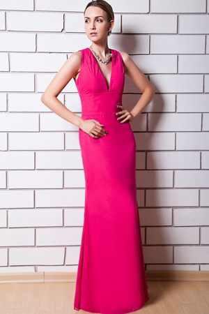 Column Hot Pink Chiffon Dress for Bridesmaids in Rustenburg V-neck Neckline