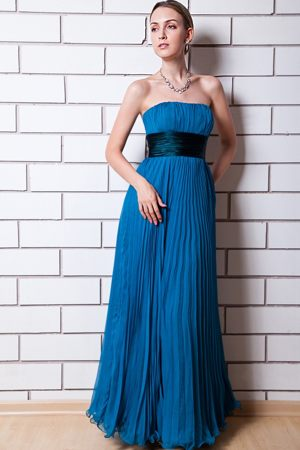 Strapless Organza Blue Empire Pleated Dresses for Bridesmaid in Rosebank