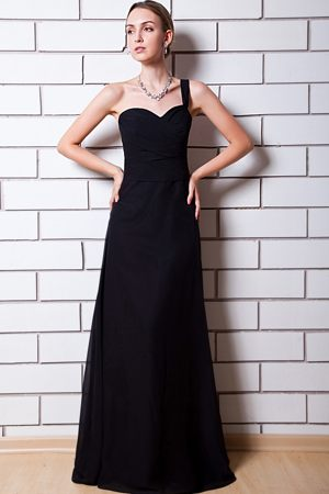 Black Column Chiffon Bridesmaids Gown in Roodepoort One Shoulder Drsign
