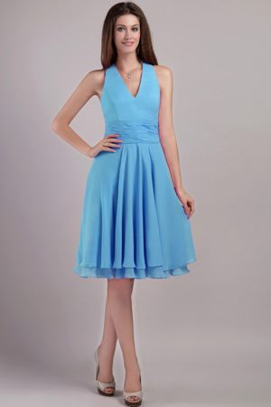 Aqua Blue Empire Knee-length Bridesmaid Dress in Richards Bay with Halter Top
