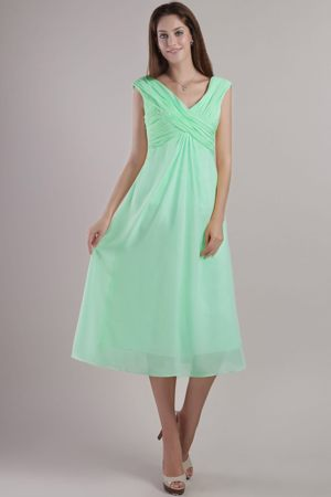 V-neck Ankle-length Apple Green Empire Bridesmaid Dresses in Randfontein