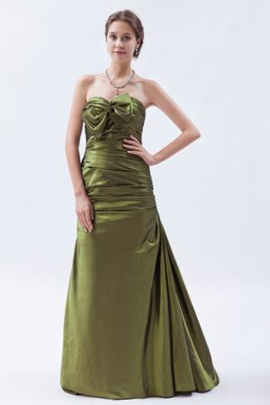 A-line Brush Ruche and Bow for Olive Green Bridesmaids Gown in Pretoria