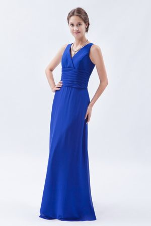 Sheath V-neck Royal Blue Chiffon Ruched Bridesmaids Dresses in Potchefstroom